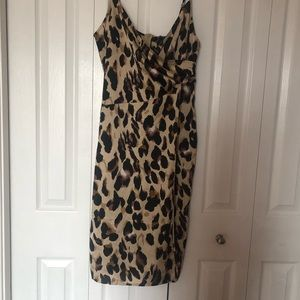 Silk cheetah print dress with slit